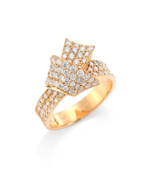 Carelle - Metallic Jumbo Knot Diamond & 18k Rose Gold Ring - Lyst