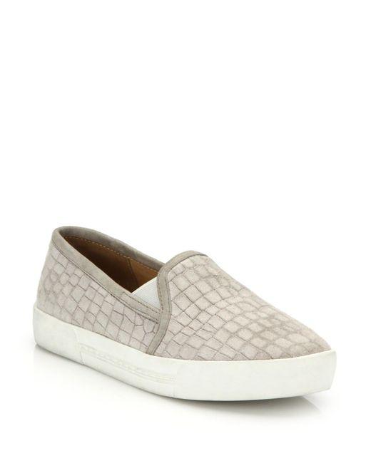 Joie - Natural Huxley Croc-embossed Suede Skate Sneakers - Lyst