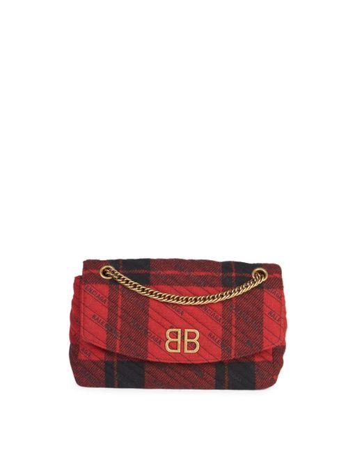 Balenciaga - Red Bb Logo Plaid Leather Crossbody Bag - Lyst