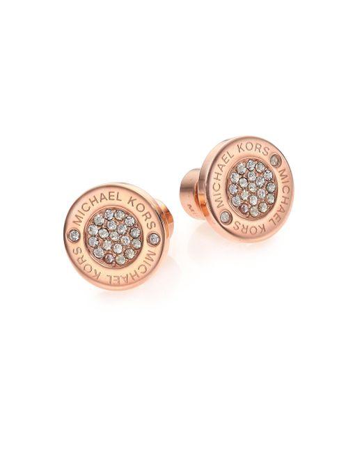 Michael Kors | Pink Heritage Plaque Pave Logo Stud Earrings/rose Goldtone | Lyst
