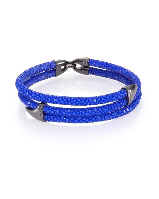 Stinghd - Blue Blackened Silver & Stingray Wrap Shark Fin Bracelet for Men - Lyst