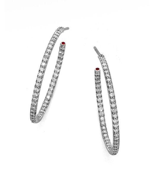 Roberto Coin Diamond & 18k White Gold Large Hoop Earrings/1