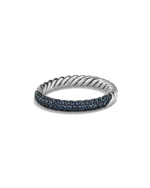 David Yurman - Blue Petite Pavé Ring - Lyst