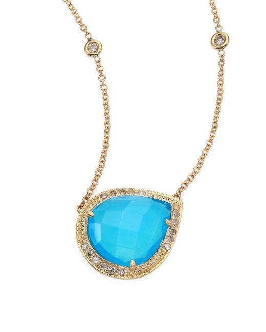 Jacquie Aiche - Partial Pavé Diamond, Blue Opal & 14k Yellow Gold Teardrop Necklace - Lyst
