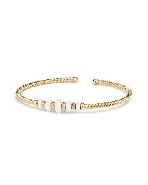 David Yurman - Metallic Rio Rondelle Cabled Cuff Bracelet With White Agate In 18k Yellow Gold - Lyst