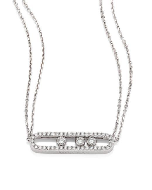 Messika | Metallic Move Pave Diamond & 18k White Gold Necklace | Lyst
