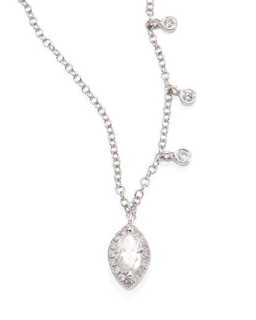 Meira T | Metallic Marquise Diamond & 14k White Gold Pendant Necklace | Lyst