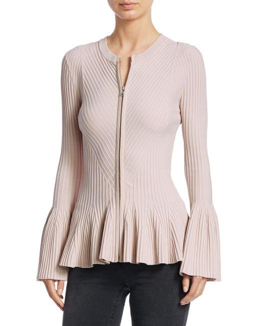 Jonathan Simkhai - Pink Rib-knit Zip-up Jacket - Lyst
