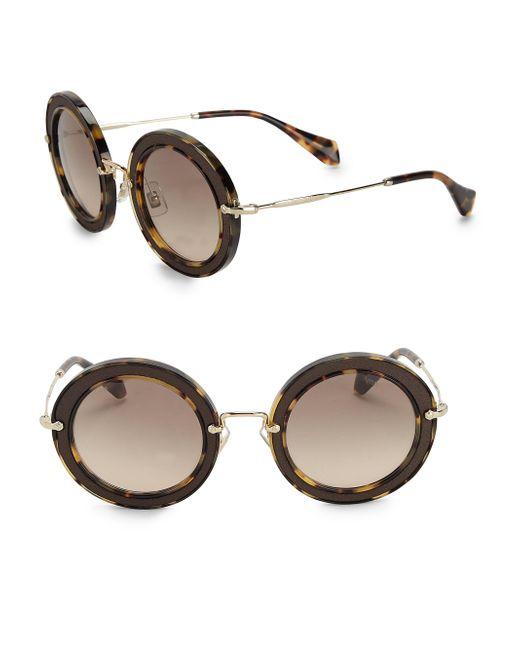 Miu Miu | Brown 49mm Round Embellished Acetate & Metal Sunglasses | Lyst