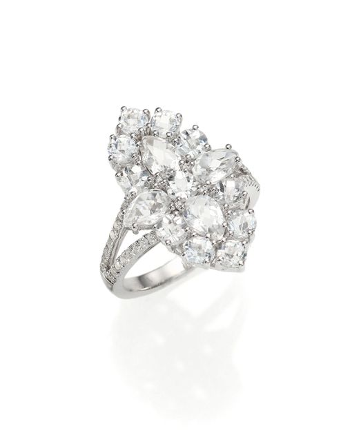 Meira T | Pave Diamond, White Topaz & 14k White Gold Ring | Lyst