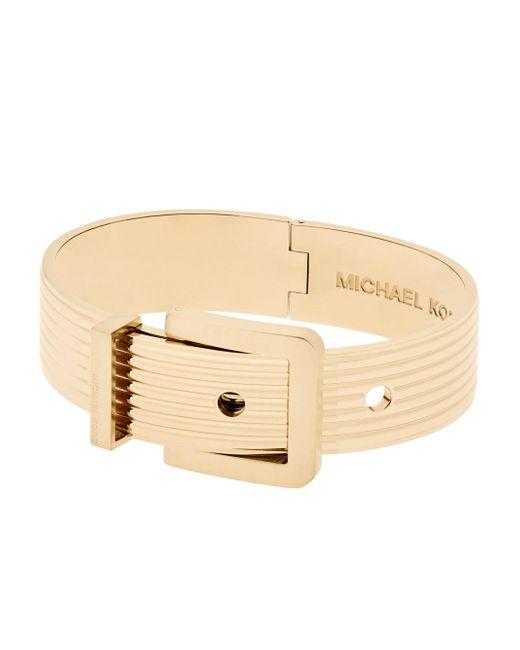 Michael Kors   Metallic Wide Ribbed Padlock Buckle Bracelet/goldtone   Lyst