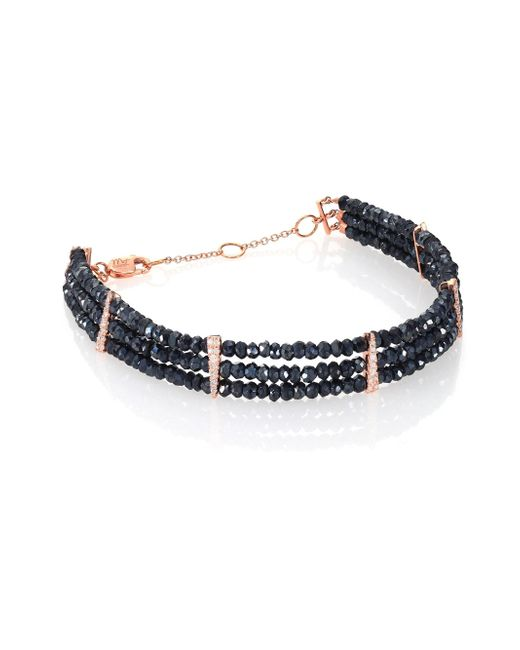 Meira T - Blue Silverite, Diamonds & 14k Rose Gold Beaded Three-row Bracelet - Lyst