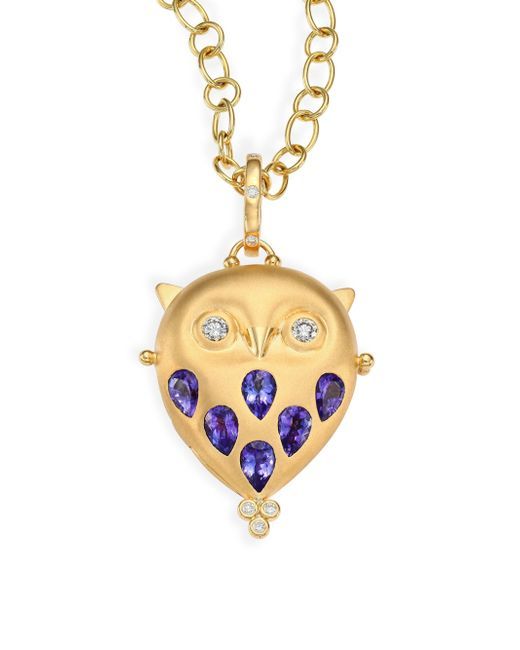 Temple St. Clair - Metallic Tanzanite, Diamond & 18k Yellow Gold Owl Locket - Lyst