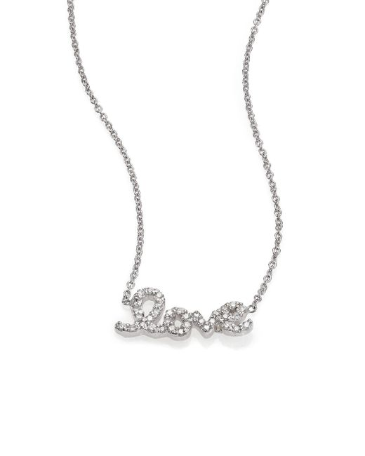 Roberto Coin | Tiny Treasures Diamond & 18k White Gold Love Letter Necklace | Lyst
