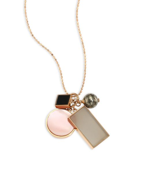 Ginette NY - Metallic Ever Frost Semi-precious Multi-stone & 18k Rose Gold Charm Necklace - Lyst