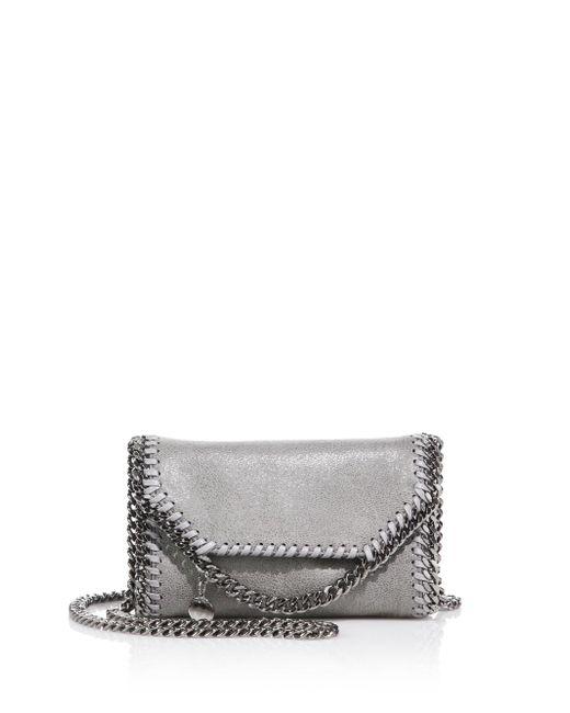 Stella McCartney Metallic Tiny Falabellafaux Leather Fold-over Chain Crossbody Bag