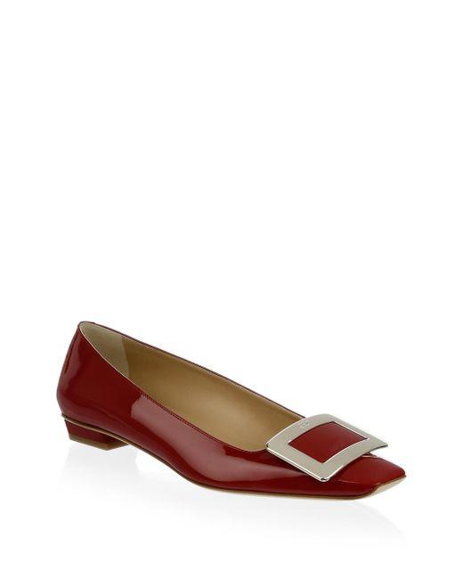Roger Vivier - Red Belle Vivier Patent Leather Mid-heel Flats - Lyst