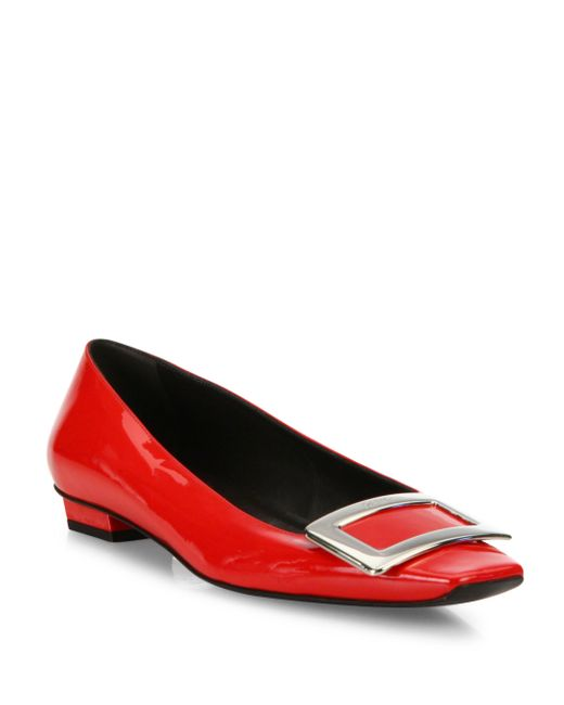 Roger Vivier   Red Belle Vivier Patent Leather Mid-heel Pumps   Lyst