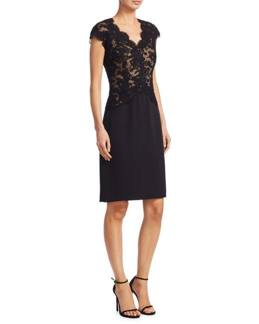 Reem Acra | Black Lace Cap Sleeve Dress | Lyst