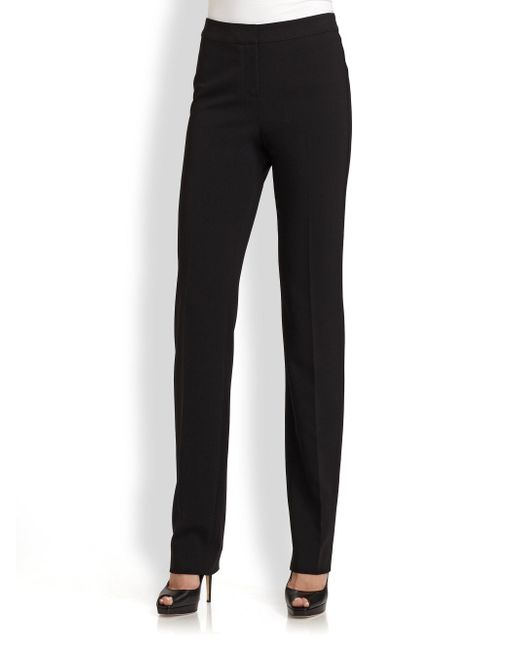 St. John | Black Caviar Collection Crepe Marocain Diana Pants | Lyst