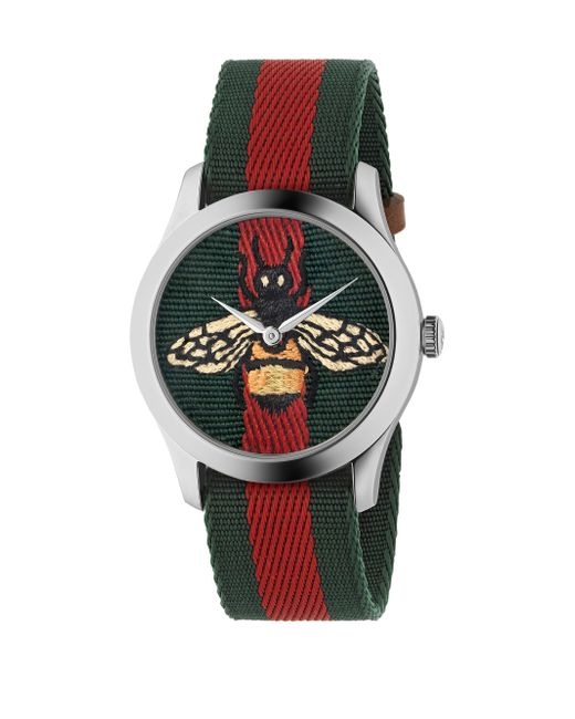 Gucci - Green Bee Stainless Steel And Striped Nylon Strap Watch - Lyst