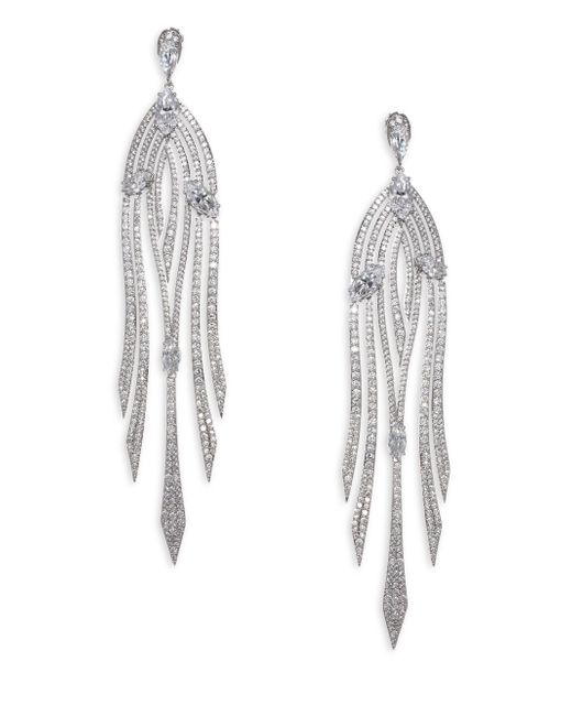 Adriana Orsini - Metallic Lush Cascade Pave Earrings - Lyst