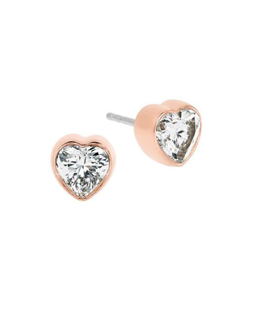 Michael Kors | Metallic Modern Brilliance Crystal Heart Stud Earrings/rose Goldtone | Lyst