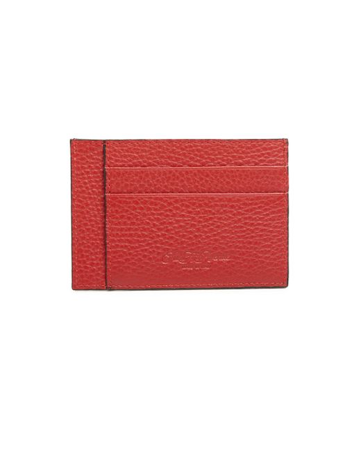 Saks Fifth Avenue - Red Leather Bi-color Card Case - Lyst