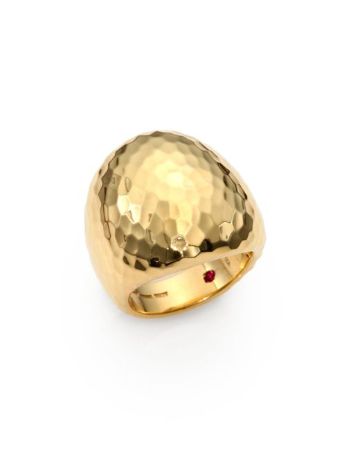 Roberto Coin | Metallic Martellato 18k Yellow Gold Oval Cocktail Ring | Lyst