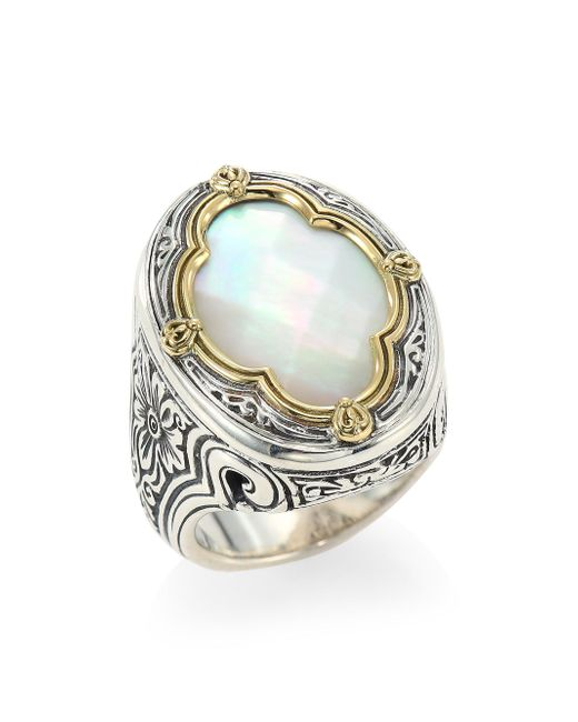 Konstantino - Metallic Faceted Mother Of Pearl, Sterling Silver & 18k Yellow Gold Ring - Lyst