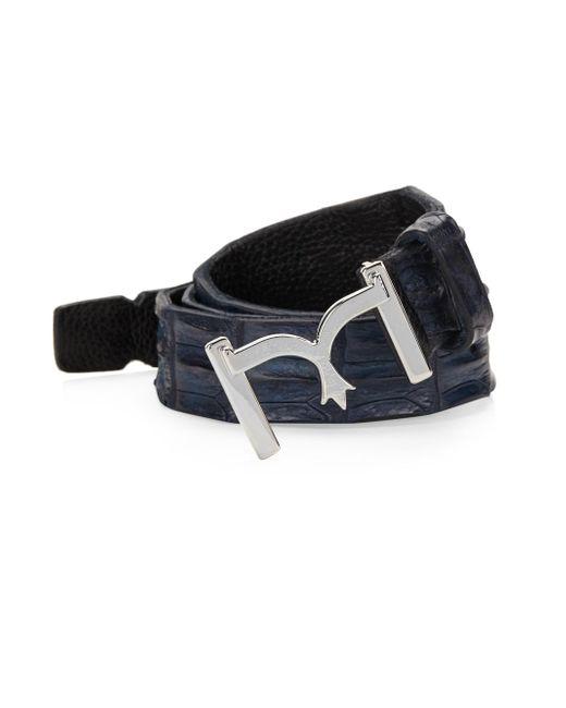 Larusmiani - Blue Men's Crocodile Raw Leather Belt - Black - Size 100 (40) for Men - Lyst