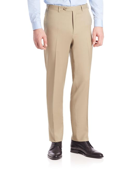 Canali - Brown Wool Pants for Men - Lyst