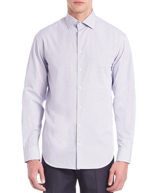 Armani | Blue Modern-fit Checked Cotton Dress Shirt for Men | Lyst