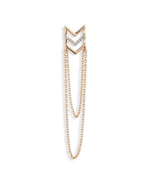 Kismet by Milka - Metallic Chevron Diamond & 14k Rose Gold Single Long Earring - Lyst