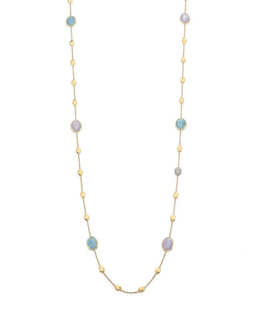 Marco Bicego | Metallic Siviglia Diamond, Aquamarine, Chalcedony, 18k Yellow Gold & 18k White Gold Station Necklace | Lyst