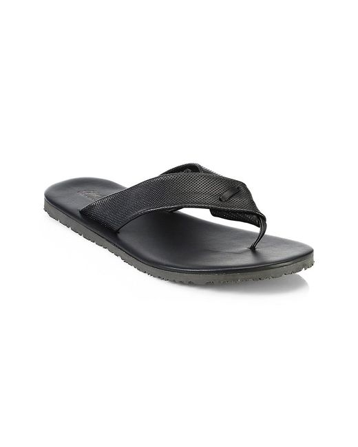 Saks Fifth Avenue Black Collection Perforated Leather Flip Flops for men
