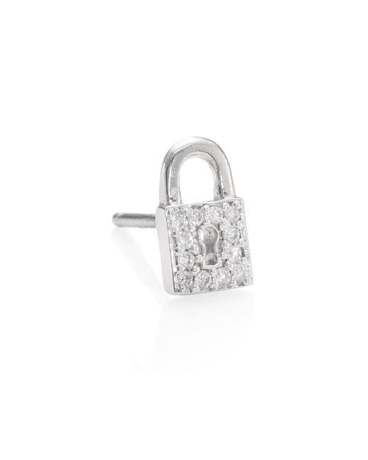 Sydney Evan - Metallic Lock Diamond Stud Earrings - Lyst