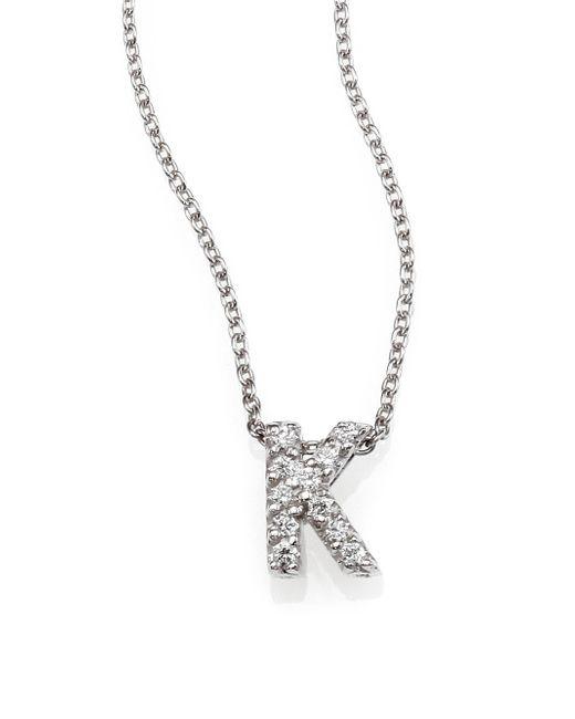 Roberto Coin | Metallic Tiny Treasures Diamond & 18k White Gold Love Letter Pendant Necklace | Lyst