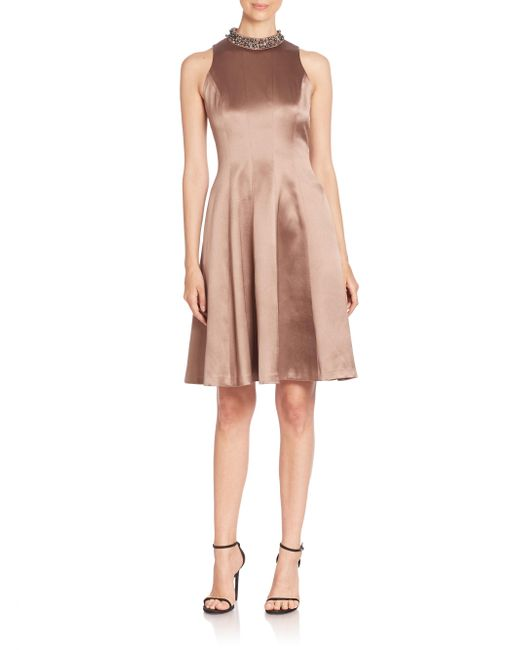 Kay Unger | Blue Solid Fit & Flare Dress | Lyst
