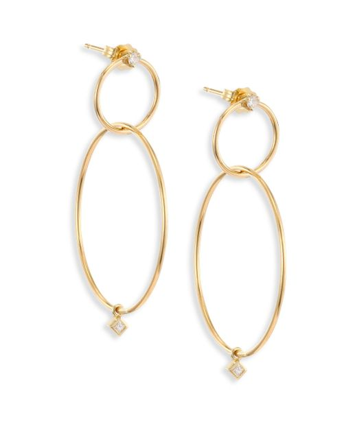 Zoe Chicco - Metallic Diamond & 14k Yellow Gold Double-circle Drop Earrings - Lyst
