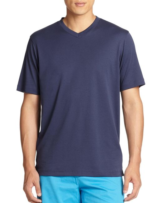 Saks Fifth Avenue - Blue V-neck Tee for Men - Lyst