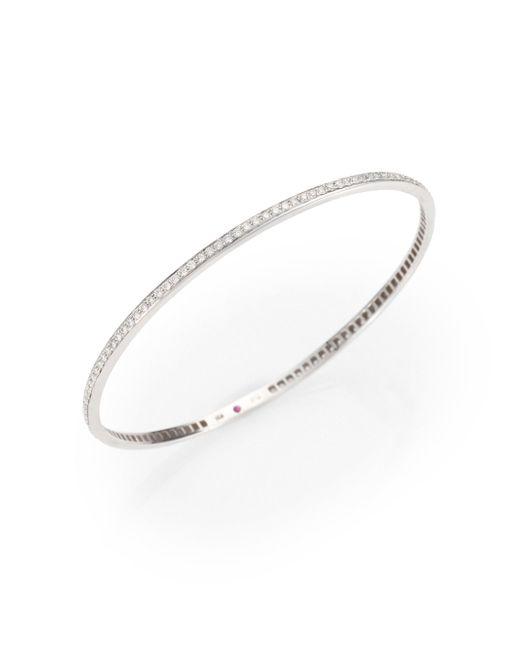 Roberto Coin - Metallic Diamond & 18k White Gold Bangle Bracelet - Lyst