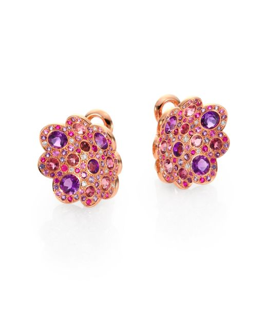 Roberto Coin - Multicolor Semi-precious Multi-stone & 18k Rose Gold Floral Button Earrings - Lyst