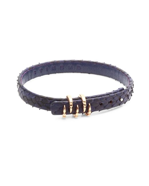 Stinghd - Blue Silver Claw And Leather Bracelet - Lyst