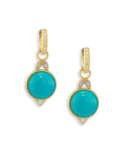 Jude Frances - Multicolor Lisse Diamond, Turquoise & 18k Yellow Gold Round Drop Earrings - Lyst