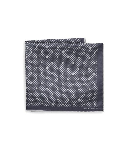 Hook + Albert - Gray Polka Dot Silk Pocket Square for Men - Lyst