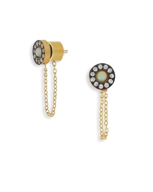Ileana Makri | Metallic Sun Chained White Sapphire & Opal Stud Earrings | Lyst