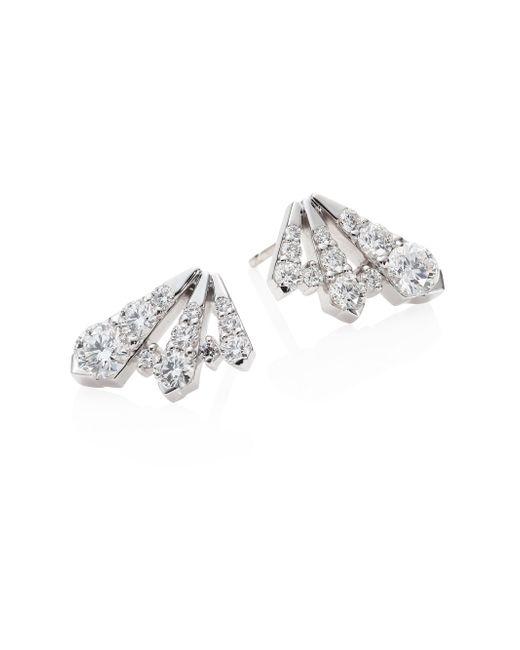 Hearts On Fire | Metallic Triplicity Diamond & 18k White Gold Stud Earrings | Lyst