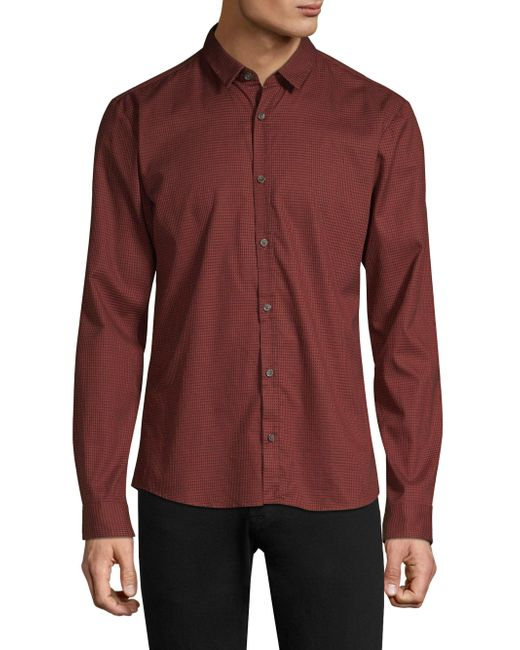 HUGO - Red Ero Houndstooth Extra Slim Fit Button-down Shirt for Men - Lyst