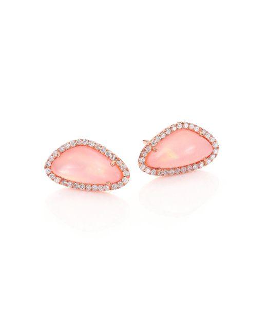 Meira T - Pink Rose Quartz, Mother-of-pearl, Diamond & 14k Rose Gold Stud Earrings - Lyst